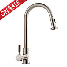 Kitchen Sink Faucets Amazon Com by Comllen Best Commercial Single Handle Pull Out Sprayer Stainless