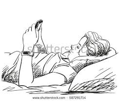 Drawing Of A Bed Face Young Downcast Eyes Vector Stock Vector 537434428