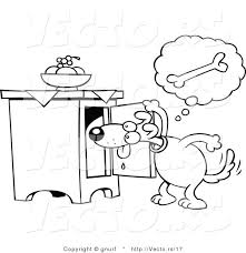 vector line drawing of a hungry cartoon dog searching for a doggy