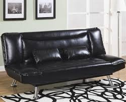 Faux Leather Futon Faux Leather Modern Convertible Sofa Bed 300144 Black