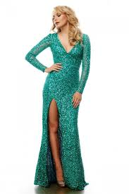 fitted v neck long sleeve green sequin sparkly prom dress with