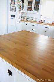 the red feedsack update on butcher block countertops