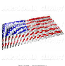 Americana Flags Americana Clip Art Of Red Blue And White People Crowding And