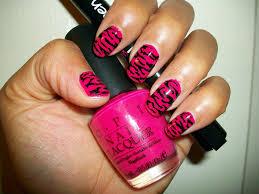 notd pink animal print nail art design beauty chameleon