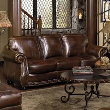 Chesterfield Sofa Sleeper by Usa Premium Leather 8755 Stationary Sofa W Nailhead Trimming
