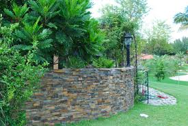 garden walls stone how to installed stacked stone panels on curved walls