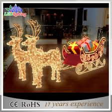 china outdoor decorative sleigh and reindeer decoration led