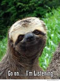 Angry Sloth Meme - sloth meme go on i m listening photo golfian com