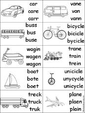 spelling worksheets transportation vehicles at enchantedlearning com