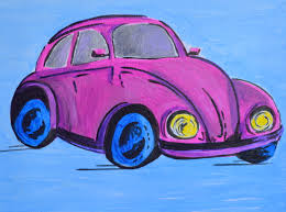 volkswagen bug drawing vintage pink volkswagen beetle u2013 a colorful painted wall art