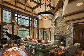 timber frame great room lighting built in stone mantle lighting above fireplaces entertainment