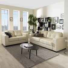 Faux Leather Living Room Set Baxton Studio Modern Ivory Faux Leather Sofa And Loveseat