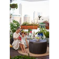 home design products keter keter 37 gal circa natural wood style round outdoor storage bench