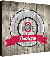 state wood ohio state buckeyes logo on wood canvas picture at ohio state