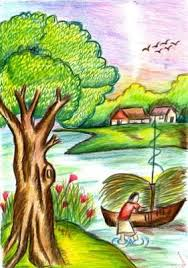 pictures beautiful sketches of sceneries with colour drawing