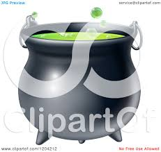 halloween witch pot cartoon of a witch cauldron with bubbly green brew royalty free