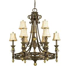 Lighting Chandelier World Imports Capra 9 Light Rust Chandelier With Distressed Ivory