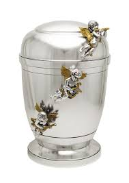 urn for ashes exclusive silver pewter with three gold funeral cremation