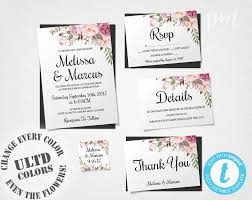wedding invitation template set floral boho wedding invite