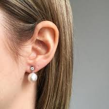 diamond stud earrings sale diamond stud earring with dangling pearl 10mm new wave jewellery