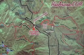 mt lemmon hiking trails map sunset trail 90 hiking arizona hikearizona com