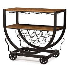 Industrial Kitchen Cart by Triesta Antiqued Vintage Industrial Metal U0026 Wood Wheeled Wine Rack