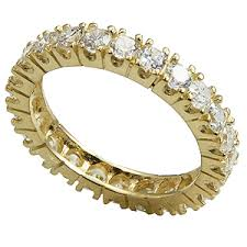 gold eternity rings 14k gold prong set cz cubic zirconia eternity ring band