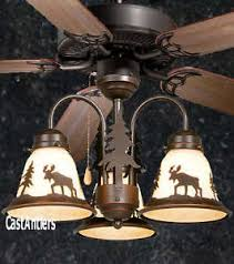 Lodge Ceiling Fans With Lights 52 Lodge Rustic Cabin Country Ceiling Fan W Light Kit Moose
