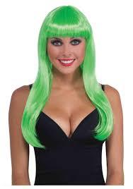 Halloween Neon Costume Long Neon Green Wig