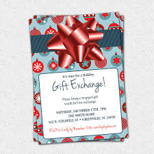 gift exchange invitation blue or green