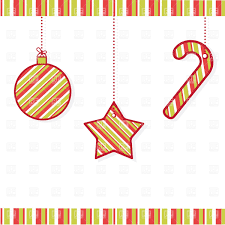 stripy christmas decorations ball star and candy cane vector