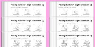 subtraction 4 digit missing numbers differentiated activity