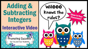 integers adding and subtracting rules math tutorial for kids