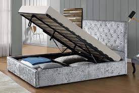 ottoman beds with mattress chatsworth crushed silver ottoman bed frame double king size sleep