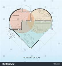 heart symbol interior ground floor plan stock vector 261657242