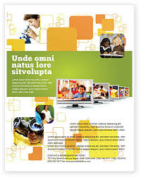 kids computer flyer template background in microsoft word