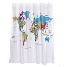 Best World Map World Map Sketch Waterproof Antifungal Colorful Shower Curtain 71