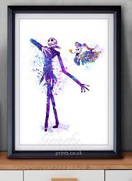 the nightmare before and sally watercolor poster