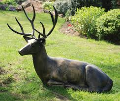 laying deer stag bronze metal garden statue s s shop