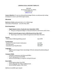 Samples Of Resume Formats by Chronological Resume For Canada Joblers