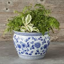 blue u0026 white ceramic planter large williams sonoma
