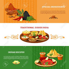 cuisine et tradition indian cuisine 3 flat banners set with traditional dishes with