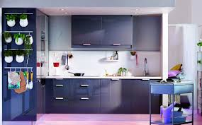 elegant design ideas of modular small kitchen with deep blue color