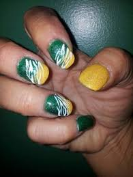 green bay packer nail art cute idea but i would use blue white