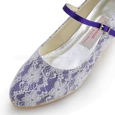 Wedding Shoes Purple Round Toes Lace Overlaid Low Heel Wedding Shoes In Purple