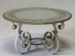 wrought iron coffee table with eglomisé mirror top france 1940s