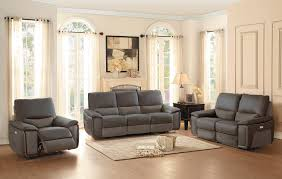 Power Reclining Sofa Set Homelegance Corazon Power Reclining Sofa Set Navy Gray Top Grain
