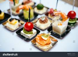 different snacks appetizers ready cocktail party stock photo
