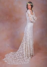 ivory or white crochet lace bohemian wedding dress dreamers and