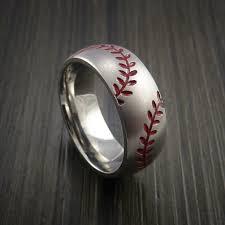 baseball wedding ring titanium dual stitch baseball ring bead blast finish baseball rings